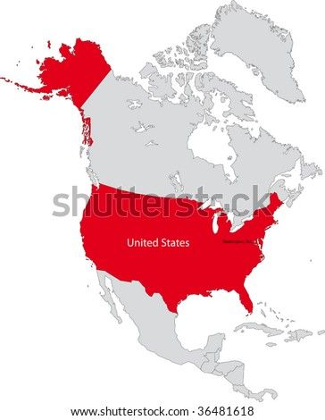 Location of the United States of America on the north America continent - stock vector