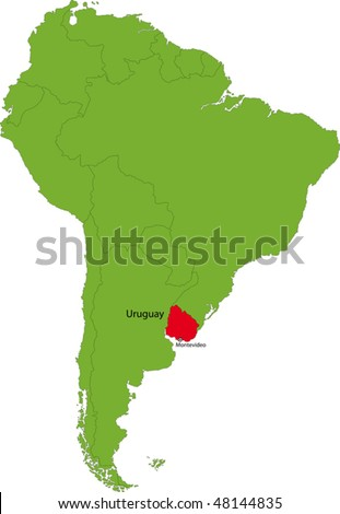 Location of Uruguay on the South America continent