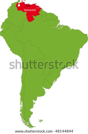 Location of Venezuela on the South America continent - stock vector