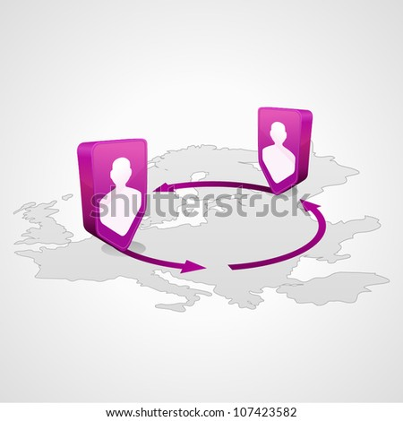 location people icon on the map and arrows - stock vector