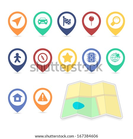 Location UI design elements of map search pin car, contrast color isolated vector illustration - stock vector