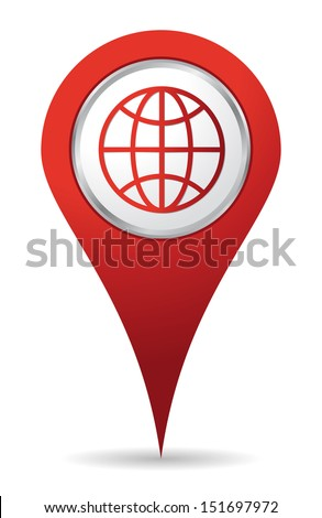location world icon in red color - stock vector