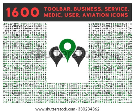 Locations vector icon and 1600 other business, service tools, medical care, software toolbar, web interface pictograms. Style is bicolor flat symbols, green and gray colors, rounded angles, white - stock vector