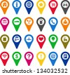 Locators icons - stock vector