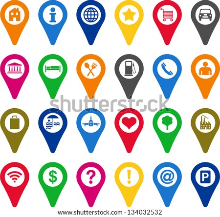 Locators icons - stock vector