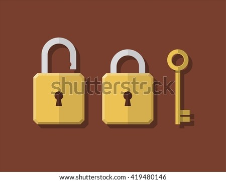 Lock and key icons. Lock and key image. Lock and key design. Lock and key vector. Lock and key illustration. Lock and key abstract. Lock and key flat. Lock and key color. Lock and key symbol - stock vector