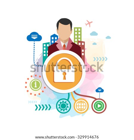 Lock and man on abstract colorful background with different icon and elements. Lock flat design - stock vector