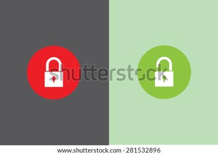 lock and unlock icon - stock vector