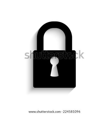 lock - black vector icon with shadow - stock vector