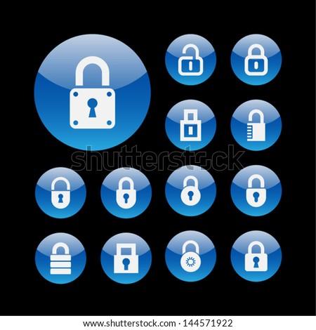 Lock button icons - stock vector