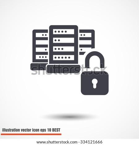 Lock,Database symbol  Vector icon 10 EPS - stock vector
