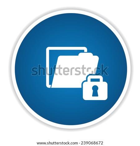 Lock folder icon on blue button,clean vector - stock vector