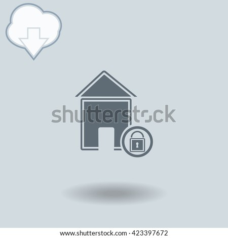 Lock house icon with shadow. Cloud of download with arrow. - stock vector
