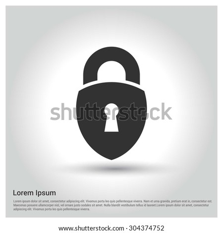 lock icon. Circle concept Shadow web buttons. vector illustration. Flat design style