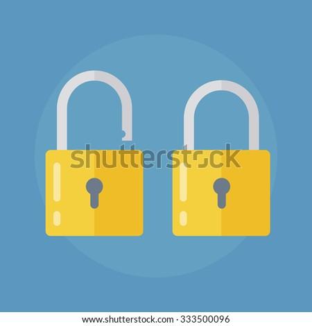 Lock icon. Lock icon in flat style. Lock open. Lock closed. Concept password, blocking, security. Lock symbol. Lock vector icon. lock icon isolated.  - stock vector