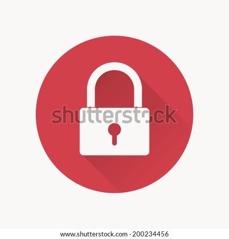 Lock icon , padlock , Vector illustration flat design with long shadow - stock vector