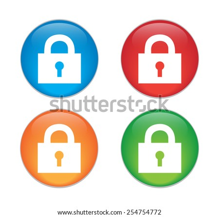 lock icon with protection key password blocked privacy.  - stock vector