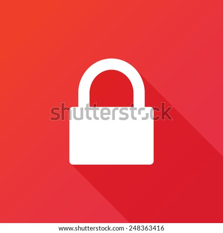 Lock icon with red background. Long shadow - stock vector