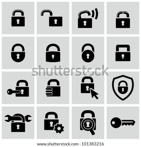 Lock icons set. - stock vector