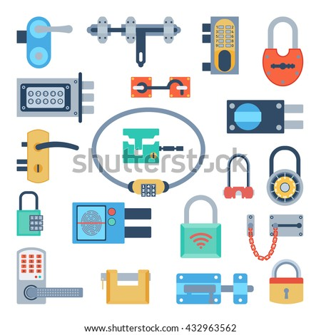 Lock icons set and security padlock protection lock. Safety password sign lock privacy element and access shape open lock. Private lock set safeguard modern firewall equipment vector collection. - stock vector