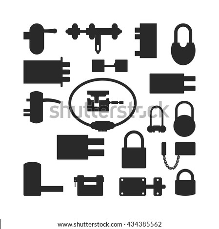 Lock icons set black silhouette and security padlock protection lock. Safety password sign lock privacy element and access shape open lock. Private lock set safeguard modern firewall equipment vector - stock vector