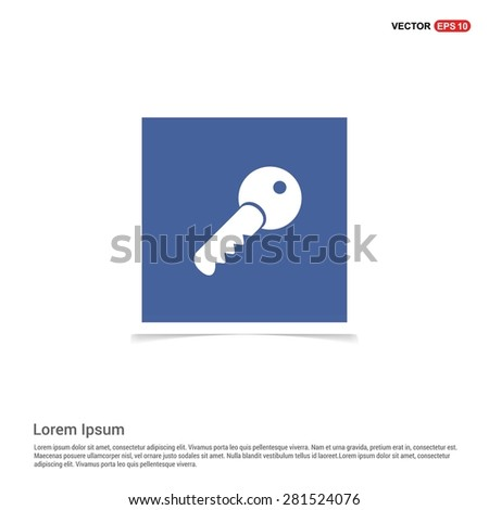 Lock Key Icon - abstract logo type icon - blue sticker background. Vector illustration - stock vector