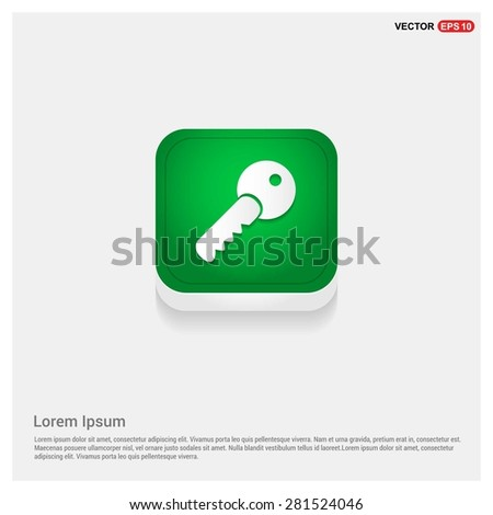 Lock Key Icon - abstract logo type icon - green abstract 3d button with light board and shadow on gray background. Vector illustration - stock vector