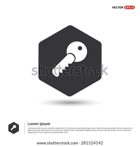 Lock Key Icon - abstract logo type icon - hexagon black background. Vector illustration - stock vector