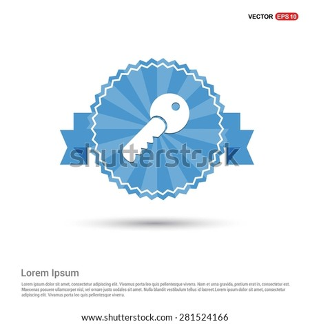 Lock Key Icon - abstract logo type icon - Retro vintage badge and label Blue background. Vector illustration - stock vector