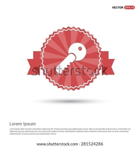 Lock Key Icon - abstract logo type icon - Retro vintage badge and label red background. Vector illustration - stock vector