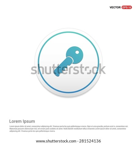 Lock Key Icon - abstract logo type icon - turquoise icon on white button background. Vector illustration - stock vector