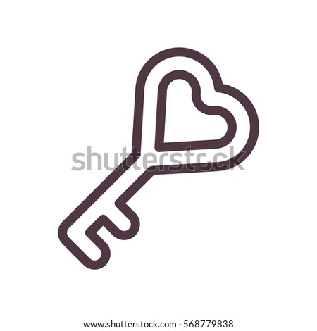 Lock Key Heart Symbol Icon Stock Vector 568779838 Shutterstock