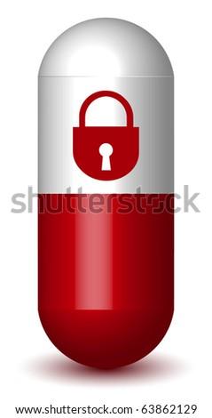 Lock Sign Capsule Pill - stock vector