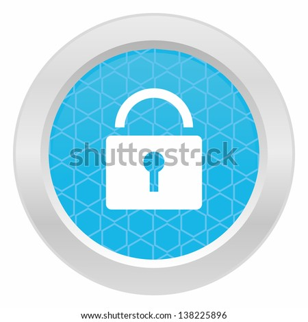 Lock symbol - Blue button with metallic frame on white background - stock vector