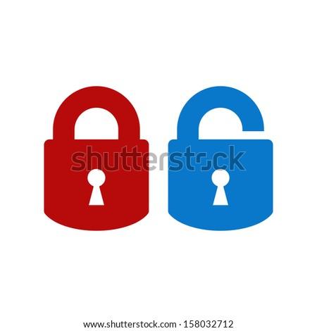 Lock-unlock icon - stock vector