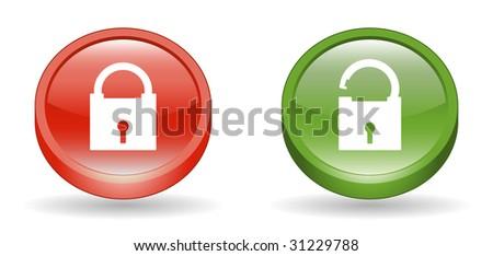 Lock & Unlock Sign 3D Icons - stock vector