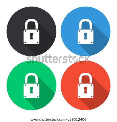 Lock vector icon - colored(gray, blue, green, red) round buttons with long shadow - stock vector
