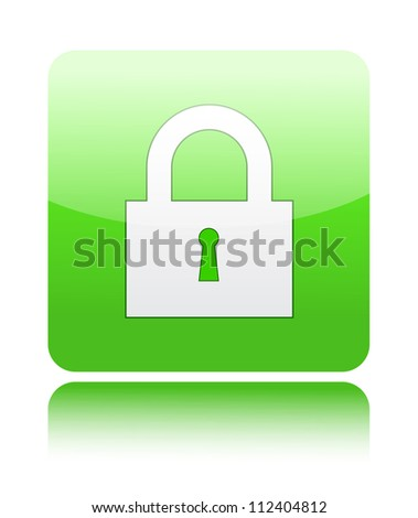 Lock with keyhole icon on green button sign - stock vector