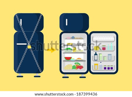 Locked and opened the fridge. Refrigerator locked with chain and padlock and beside open and full refrigerator food as vegetables, cake, juice, fruit, pasta. - stock vector