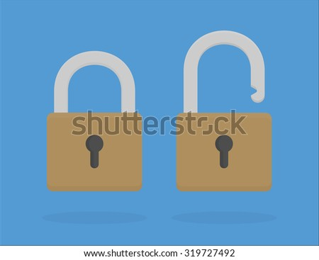 Locked and unlocked padlock icons in flat style - stock vector