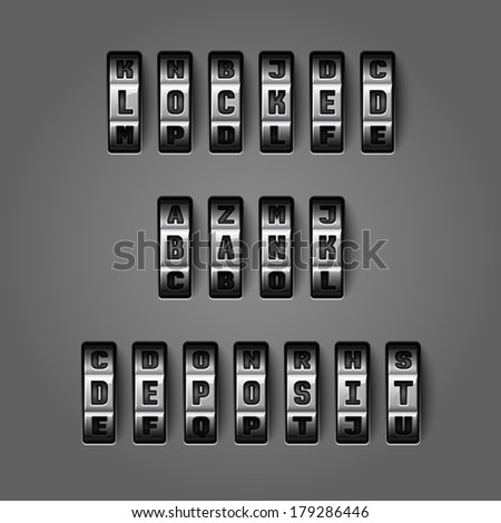 Locked bank deposit words by mechanical alphabet for combination codes concept vector illustration