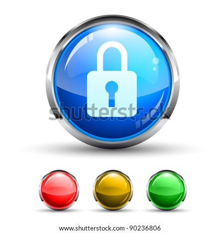 Locked Cristal Glossy Button with light reflection and Chromed ring. 4 Colours included. - stock vector