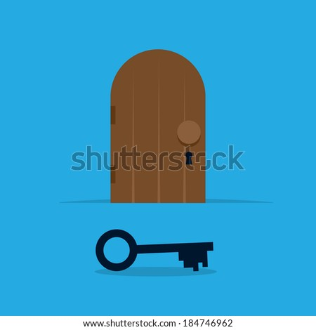 Locked door with large key in the foreground  - stock vector