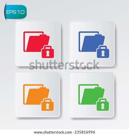 Locked folder icon on buttons,clean vector - stock vector