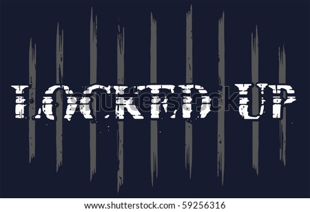 locked in jail - stock vector