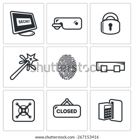 Locking icons: lock, padlock, padlock, magic wand, fingerprinting, bar, closed sign, combination lock. Vector Illustration - stock vector