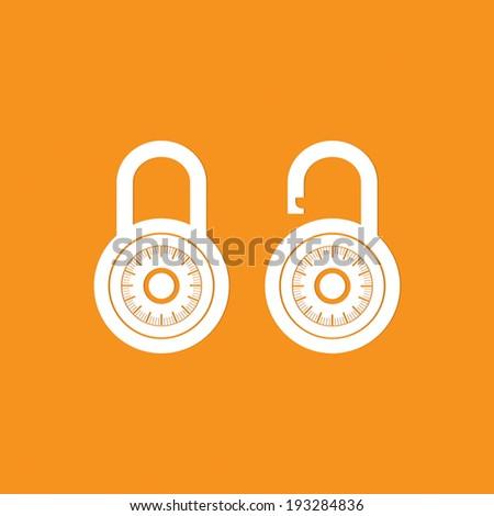 Locks icon on orange background - Vector - stock vector