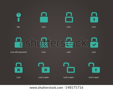 Locks icons. Vector illustration. - stock vector