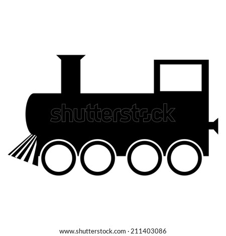 Locomotive icon on white background. Vector illustration. - stock vector
