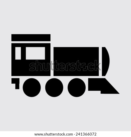 Locomotive icon . Vector illustration on a grey background - stock vector